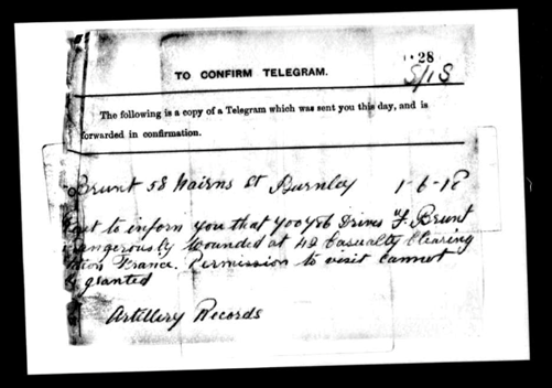 Telegram from Service Records for Francis Brunt