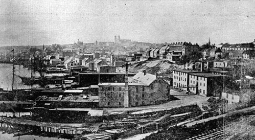 St. John's Looking West, Before 1892 Looking west from the east end of St. John's before the Great Fire of 1892. Photo courtesy of Library and Archives Canada (C-021335).