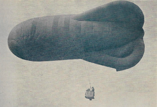 Caquot type kite balloon, used by the Allies in the mid-latter part of WWI