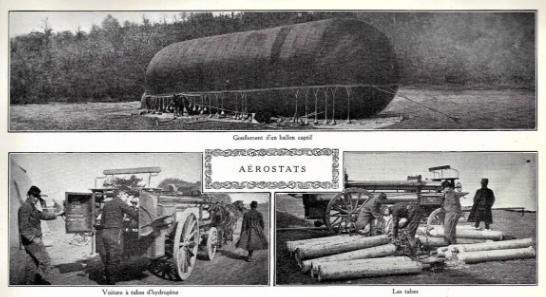 Gas filling of a balloon held to the ground by sandbags. Cart with hydrogen tubes and tubes.