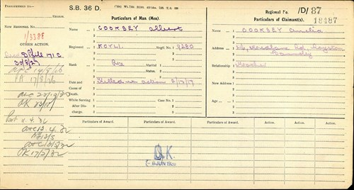 A Further Release of First World War Pension Records by