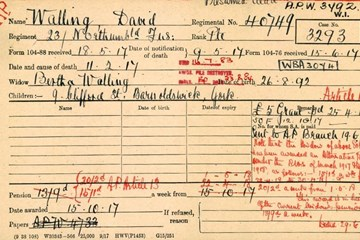 Pension Record Cards - claims for soldiers who were killed