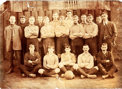 Figure 1. Stockport Lads Club Football Team, circa 1908. Cornelius Hayes standing right.