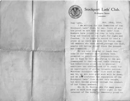 Figure 5a. Stockport Lads' Club letter, 16 November 1914.