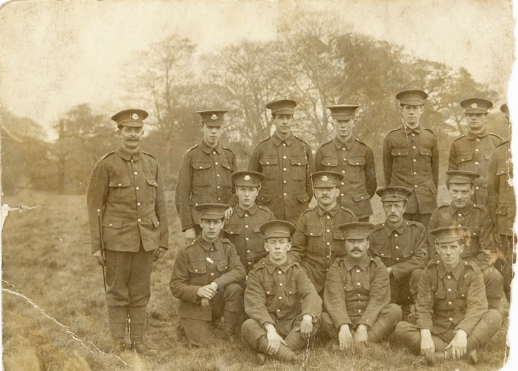 Figure 6. 6th Battalion Cheshire Regiment reserves, training in Northampton or Cambridge in late 1914, early 1915. Cornelius Hayes front row right