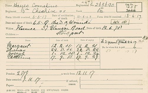 Figure 9. Pension record card for Cornelius Hayes (reverse is blank)