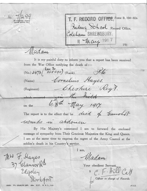 Figure 10. Form B104-82B (Death Notification) from Territorial Force Record Office 11th May 1917