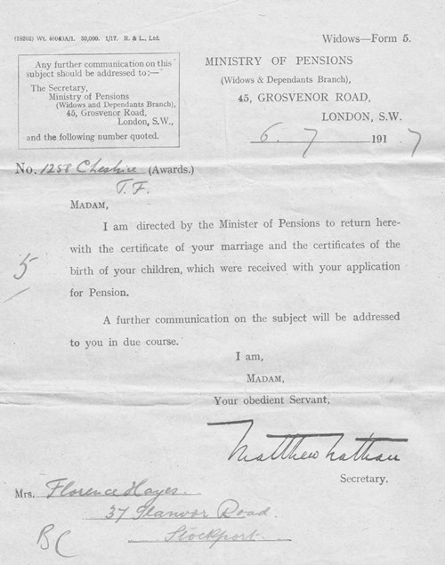 Figure 15. Ministry of Pension 6th July 1917