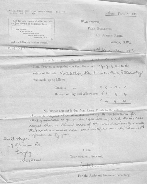 Figure 24. Revised War Office Effects Form 135, 29th October 1917