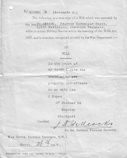 Figure 26. Copy of Will, War Office 26th March 1918