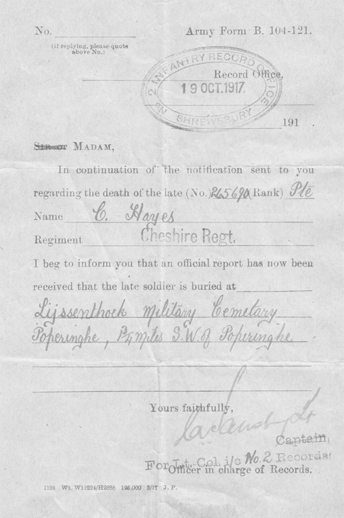 Figure 40. Army Form B104/121 from Infantry Records Office 19th October 1917