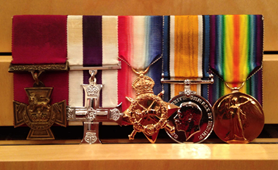 Okill Learmonth's medals held at the regimental museum of the Governor General's Foot Guards in Ottawa, Ontario, Canada
