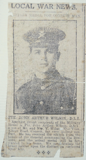 Pte, by then Corporal Jack Wilson awarded the Military Medal in 1917