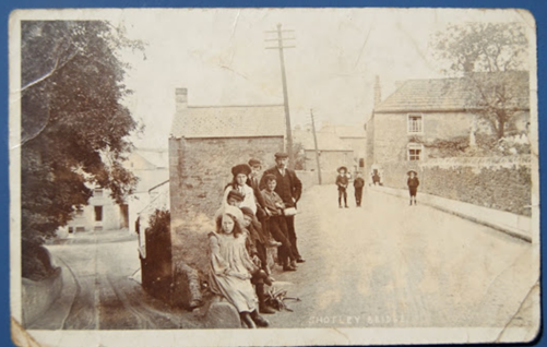 Shotley Bridge, 1905. Jack Wilson (Straw hat, centre of the road) with kid brother Willie. Ages 9 & 7.