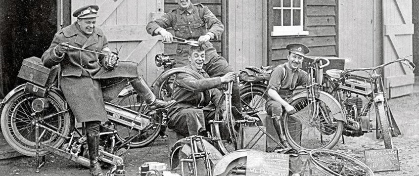 """Motorcycle dispatch riders in 1914"" by Nick Shelly"