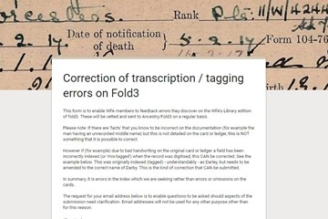 Correction of transcription errors on Fold3