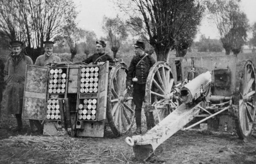 French Field Gun and ammunition waggon at Bas Maisnil